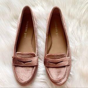 Madden Girl Blush Pink Velvet Loafer Flats